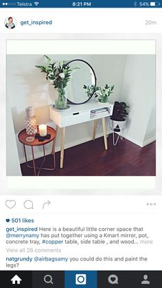 round mirror and plants brighten room! White Room Decor, Diy Bedroom Decor, Diy Home Decor, Kmart Home, Kmart Decor, Brighten Room, Home Improvement Loans, Home Interior Design, Room Inspiration