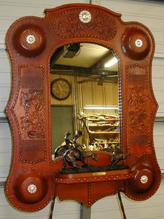 saddle tooled leather mirrors  OutbackCreations.net