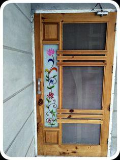 Net Door Design( mosquito door design) - Wood Working Idea Room Door Design, Door Design Interior, Wooden Door Design, Wooden Doors, Glass Painting Designs, Paint Designs, Glass Balcony Railing, Window Glass Design, Net Door