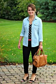 Casual chambray look with black and white polka dots, black jeans, and color blocked shoes