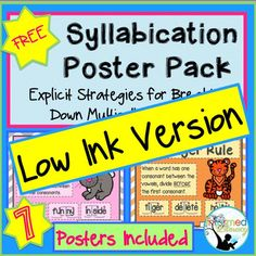 FREEBIE - A printable poster of kid-friendly syllable rules ...