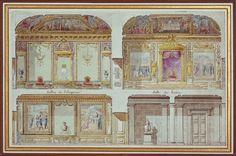 Fig.3: Élévation en coupe sur le salon de l'Empereur et la salle du Trône au premier étage (salons d'Apollon et de Mercure), aquarelle, al...