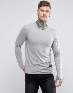d544e3b1e768d Religion Long Sleeve Muscle T-Shirt With Thumb Hole - Grey