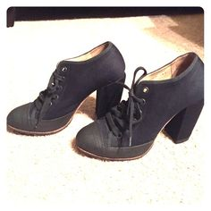 Dries van noten lace up booties! Dries van Noten made in Italy deep deep navy almost black bootie with black toes. Refer to pictures with flash for most accurate color! These shoes are adorable!!! They were barely worn and in excellent condition! Only one tiny flaw on the right heel, it's pictured in the last picture in the bottom right picture collage! Please don't hesitate to ask any questions!! Thanks  Dries van Noten Shoes Ankle Boots & Booties