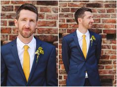 groom portrait, yellow tie blue suit