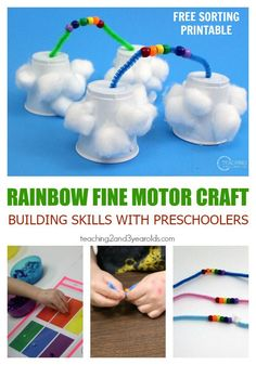 Preschoolers can build a 3-dimensional rainbow for spring while strengthening fine motor, color recognition, and math skills!