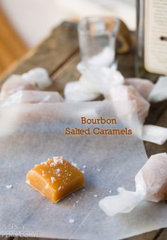 Salted Caramel Candy Recipe with a hint of Bourbon!  #caramel #saltedcaramel #holiday #homemade