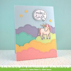 Lawn Fawn - Puffy Cloud Borders, Critters Ever After, Chit Chat_ card by Chari for Lawn Fawn Design Team Unicorn Birthday Cards, Kids Birthday Cards, Unicorn Cards, My Planner Colibri, Step Card, Lawn Fawn Blog, Rainbow Card, Lawn Fawn Stamps, Marianne Design