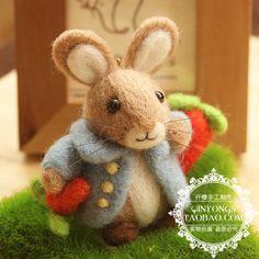 彼得兔 仟樱 羊毛毡 戳戳乐 材料包diy手机链 防尘塞 小兔子摆件-淘宝网