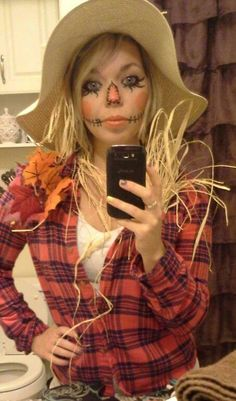 More halloween costumes for teachers Scarecrow costume. More halloween costumes for teachers Halloween Costumes Scarecrow, Diy Halloween Costumes For Women, Last Minute Halloween Costumes, Halloween Makeup, Halloween Outfits, Halloween Halloween, Work Appropriate Halloween Costumes, Halloween Decorations, Scarecrow Makeup