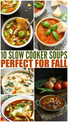Take your pick from these slow cooker soup recipes. Fire up the crockpot when the weather turns chilly for a warm and filling one-pot dinner. Chowder Recipes, Easy Soup Recipes, Fall Recipes, Dinner Recipes, Healthy Recipes, Dinner Ideas, Delicious Recipes, Crock Pot Soup, Slow Cooker Soup