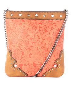 Coral Studded Crossbody Bag