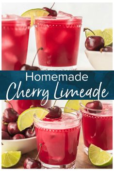 This homemade cherry limeade recipe is filled with fresh cherries & limes. One of the most refreshing summer drinks, with or without alcohol! #cherrylimeade #limeade #drinks #summer #cocktail #mocktail #thecookierookie via @beckygallhardin