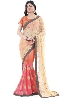 Buy Club Art Decor Faux Georgette Saree - Beige & Orange