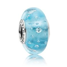 Pandora Black Friday 2015 Silver and Blue Fizzle Murano Glass Charm Bead Clearance Deals PDR781307CZ