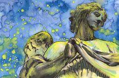 Gothic Blue Angel Sculpture Watercolor Fine Art Print