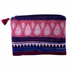 Earthy Aztec Tribal Geometric Canvas Zip Pouch Pencil Case Multi Purpose Makeu