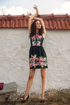 Mini black dress with trendy floral print by NelliUzun on Etsy, $120.00