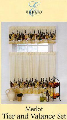 Ellery Homestyles Merlot Wine Theme Kitchen Tier Valance Set By Ellery Homestyles 29 95