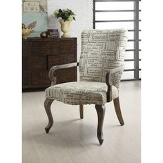 chair in family room by fireplace? @Overstock.com - Materials: Wood, foam, fabric and hardware  Finish: Weathered grey Upholstery materials: 100-percent polyester http://www.overstock.com/Home-Garden/Gooseneck-Trilogy-Ivory-Chair/5989959/product.html?CID=214117 $175.29