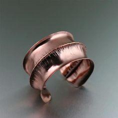 Striking Fold Formed Anticlastic Copper Cuff Presented on https://www.ilovecopperjewelry.com/fold-formed-anticlastic-copper-cuff.html #CopperGifts #Jewelry