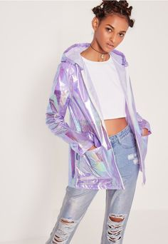 Beer in our hair? Don't care. Be the centre stage at any festival this year in this rain mac. With the new season weather being so f*cking unpredictable, make sure your jackets are on point. Featuring a light holographic purple shade, zip f...