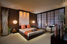 Japanese decor | Stunning Asian style bedroom with platform bed and pendant lights 66 ...