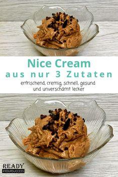 Die wohl beste Schoko Nice Cream, seit es Eiscreme gibt. Super einfach und schnell zubereitet. Nicht nur vegan, sondern auch die perfekte Kombination aus gesunden Kohlenhydraten, Fetten und Proteinen. Ohne Zucker und sonstige Konservierungsstoffe! Was will man mehr? Für Lipödem Betroffene und alle die abnehmen wollen eine Sünde Wert.  #Erdnüsse #Erdnussbutter #Banane #Protein #Schokolade #Eis #NiceCream #abnehmenmitLipödem #abnehmentrotzLipödem #abnehmen #ohneZucker #gesund #einfach Daily Fiber, Nice Cream, Vegan, Skewers, Protein, Breakfast, Food, Healthy Snack Foods, Healthy Recipes