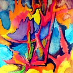 Brückenschlag, Acrylic on canvas, 1 x 1 m,  #art,#kunst,#expressionism,#expressionismus,