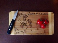 Beauty and the Beast Cutting Board  on Etsy, $25.00 CAD