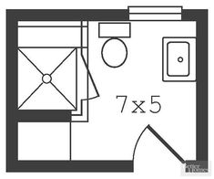 Removing a tub made room for a large shower whose door, when open, stops just short of the toilet. An existing linen clo Small Space Bathroom, Bathroom Red, Bathroom Layout, Basement Bathroom, Bathroom Ideas, Tiny Bathrooms, Bathroom Closet, Small Bathroom Floor Plans, Better Bathrooms