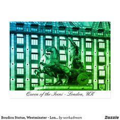 Shop Boudica Statue, Westminster - London, Britain Postcard created by Personalize it with photos & text or purchase as is! Iceni Tribe, Holidays In England, Westminster Bridge, Famous Architecture, Houses Of Parliament, Holiday Postcards, Queen, London Travel, Art Store