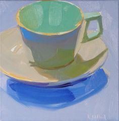 cup saucer painting, blue, aqua