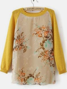 Yellow Long Sleeve Round Neck Floral Mesh Yoke Sweater