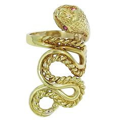 Ruby Gold Snake Ring   From a unique collection of vintage fashion rings at https://www.1stdibs.com/jewelry/rings/fashion-rings/