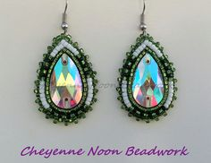 Native American Beaded Earrings  Mossy Green White by CheyenneNoon