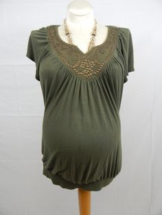 Olive Green Short Sleeve Beaded Top-912
