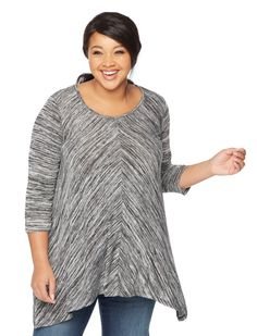Plus size long sleeve scoop neck hanky hem maternity top by Motherhood Maternity | Thanksgiving maternity outfit inspiration
