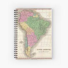 'vintage Map of South America' Spiral Notebook by ModernFaces Vintage Wall Art, Vintage Walls, 7 Seven, Map Design, South America, Spiral, My Arts, Notebook, Art Prints