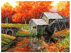 Amazon.com: MCG Textiles 52405 Gold Collection Counted Cross Stitch Kit, The Old Mill in October by Charles White: Home & Kitchen