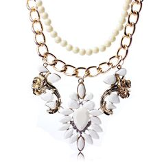 White Boho Resin-beaded Chains Floral Pendants Necklace