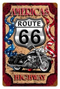 Harley Davison on Route 66 Images Vintage, Vintage Posters, Vintage Cars, Route 66 Sign, Mosaic Kits, Foto Transfer, Historic Route 66, Harley Davison, Vintage Metal Signs