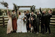 "A sweet post-nuptials ""they did it"" moment! | Image by Sarah Joy Photo #ceremony #weddingceremony #groupshot #groupphoto #wedding #weddinginspiration #outdoorwedding #bohemianwedding #alternativewedding #edgywedding #fallwedding #weddingphotography #bride #groom #groomsmen #bridesmaids"