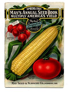 1921 Earl May seed packet // The Shenandoah, Iowa-based company was founded in 1919. Garden Catalogs, Seed Catalogs, Garden Mural, Vintage Seed Packets, Vintage Gardening, Vintage Farm, Heirloom Tomatoes, Good Ole, Garden Seeds