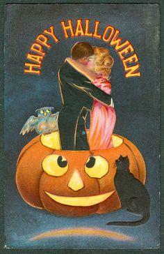 Vintage Embossed Sanders Halloween Postcard Couple Stand In JOL Kiss Cat Owl