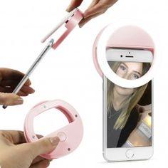 Gadgets Urcover Universal LED Selfie-Ring Leuchte Strahler Foto-Lampe Halterung Rosa