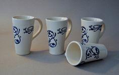Jo Anne Doyle - handbuilt white/blue coffee mugs