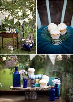 blue decor wedding