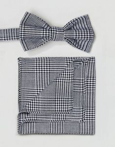 ASOS Prince Of Wales Check Bow Tie and Pocket Square - Black Tie And Pocket  Square 768748ccabc36