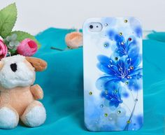 3D Crystal Rhinestone Hand-Painted Design Protective Plastic Case for iPhone 4/4S (Blue Flower) ,Best personalized gifts for him or her on Yoyoon.com